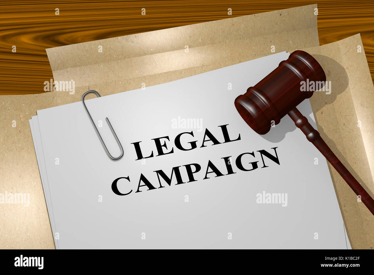 3D illustration of 'LEGAL CAMPAIGN' title on Legal Documents. Legal concept. - Stock Image