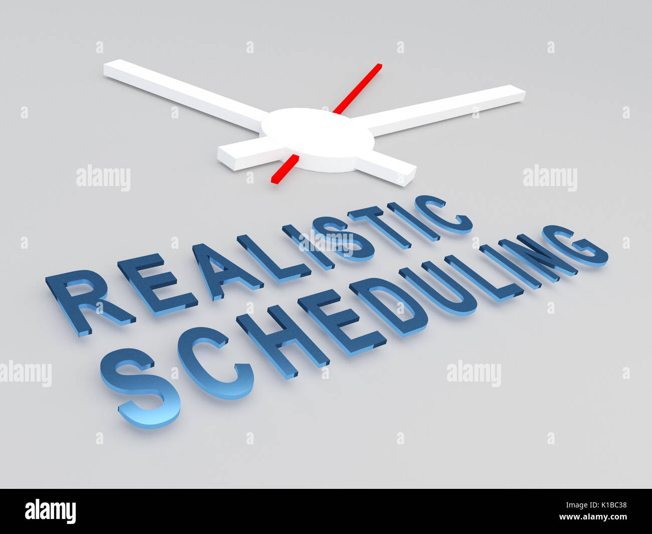 3D illustration of 'REALISTIC SCHEDULING' title with a clock as a background. Time concept. - Stock Image