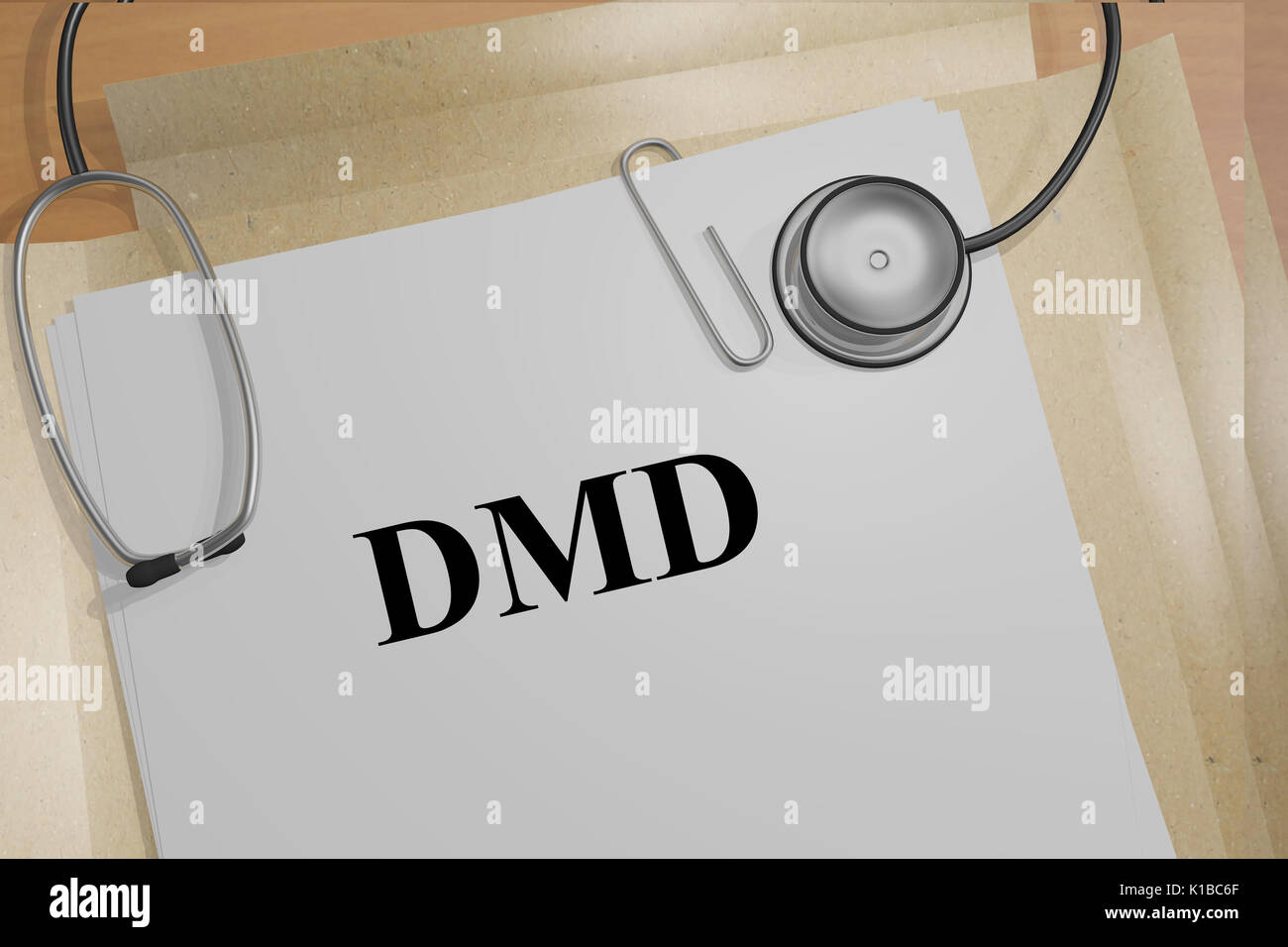 3D illustration of 'DMD' title on medical documents (Duchenne Muscular Dystrophy). Medicial concept. - Stock Image