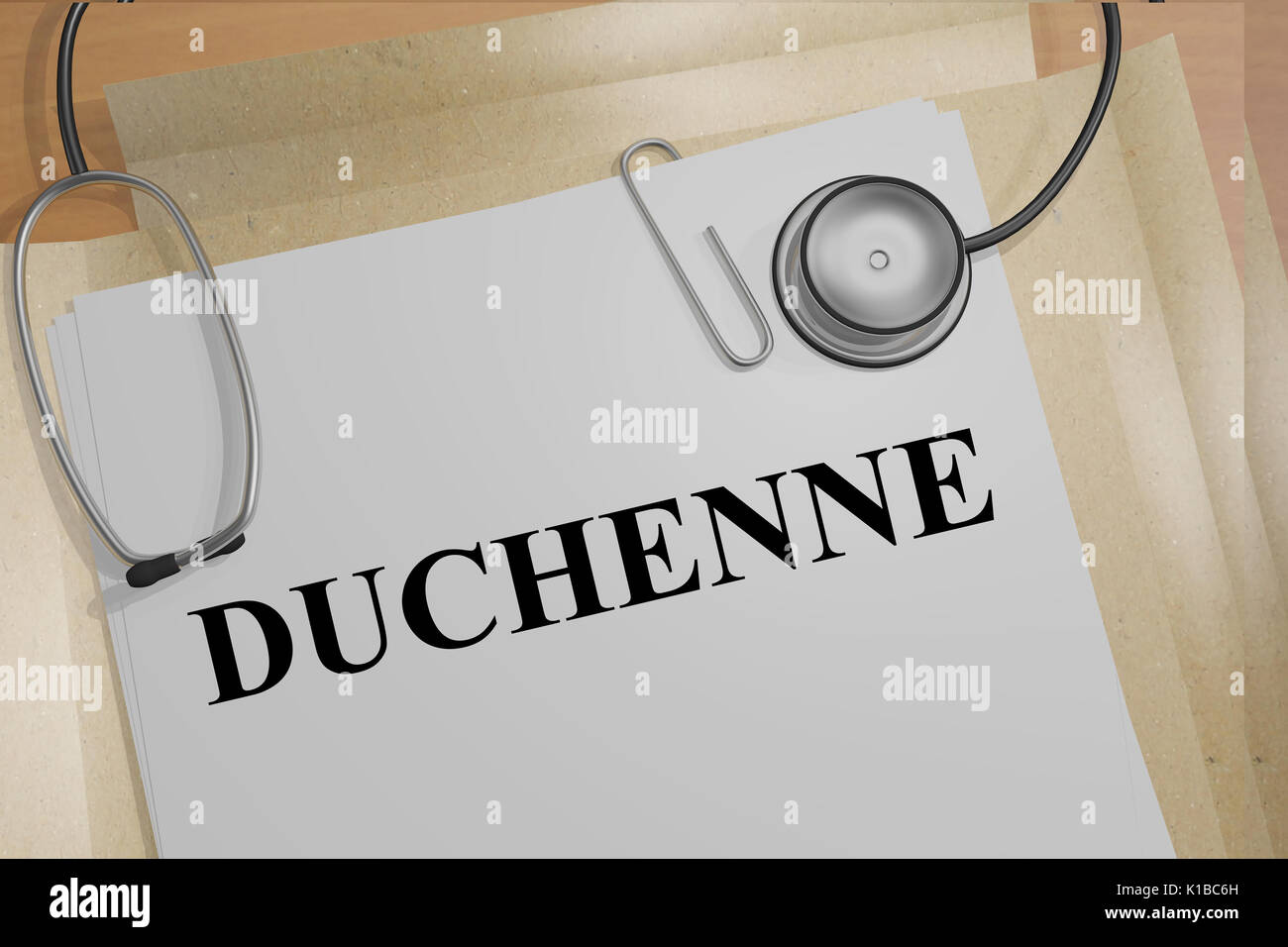 3D illustration of 'DUCHENNE' title on medical documents. Medicial concept. - Stock Image