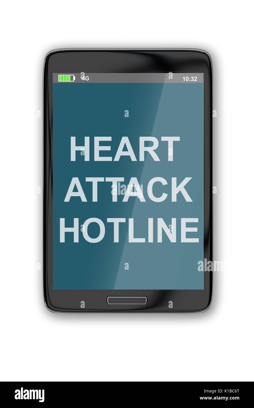3D illustration of 'HEART ATTACK HOTLINE' title on cellular screen, isolated on white. Emergency concept. - Stock Image