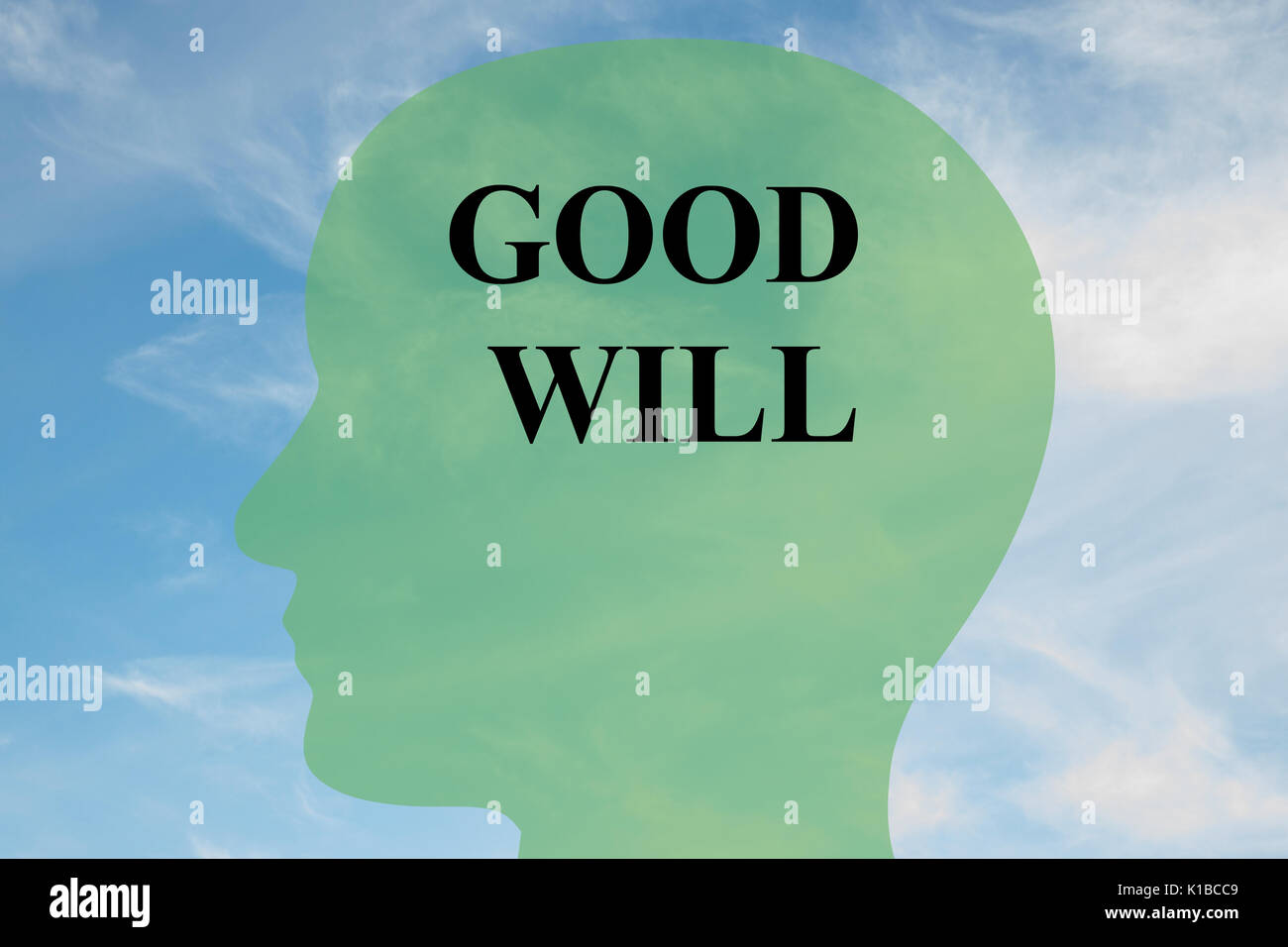 Render illustration of GOOD WILL script on head silhouette, with cloudy sky as a background. Human mind concept. - Stock Image