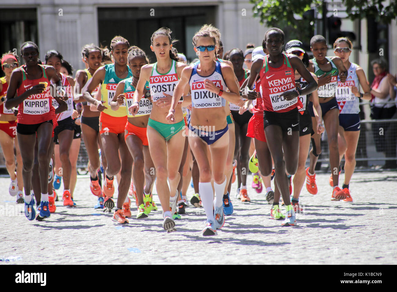 6 August 2017, London: Alyson Dixon (GBR) leads the race early in the IAAF World Championships Women's Marathon 2017 - Stock Image