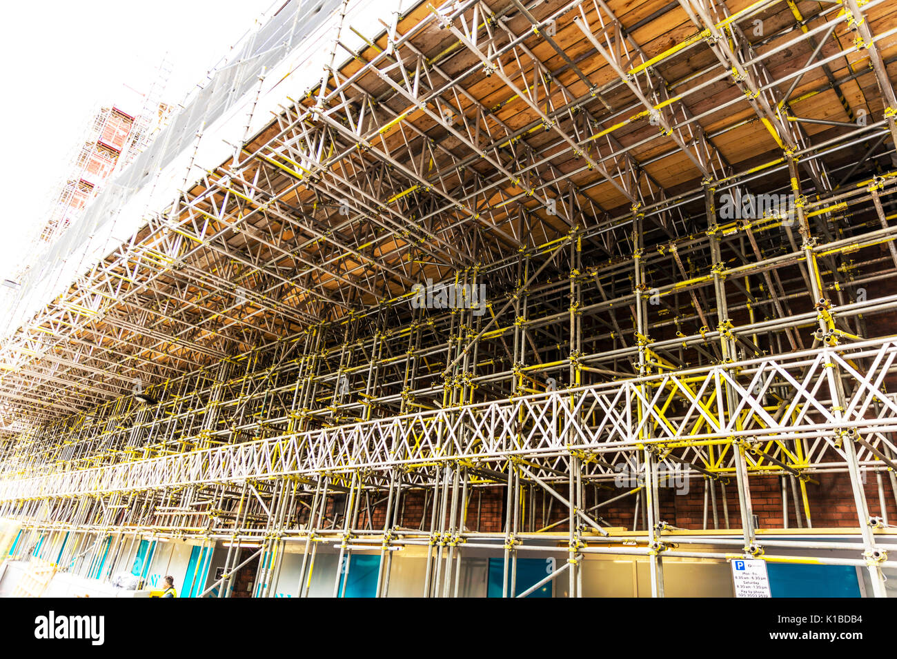 Scaffold, scaffolding, scaffolded, building, construction, construction scaffold, dungeons, building scaffold, Scaffold UK England, health and safety, - Stock Image