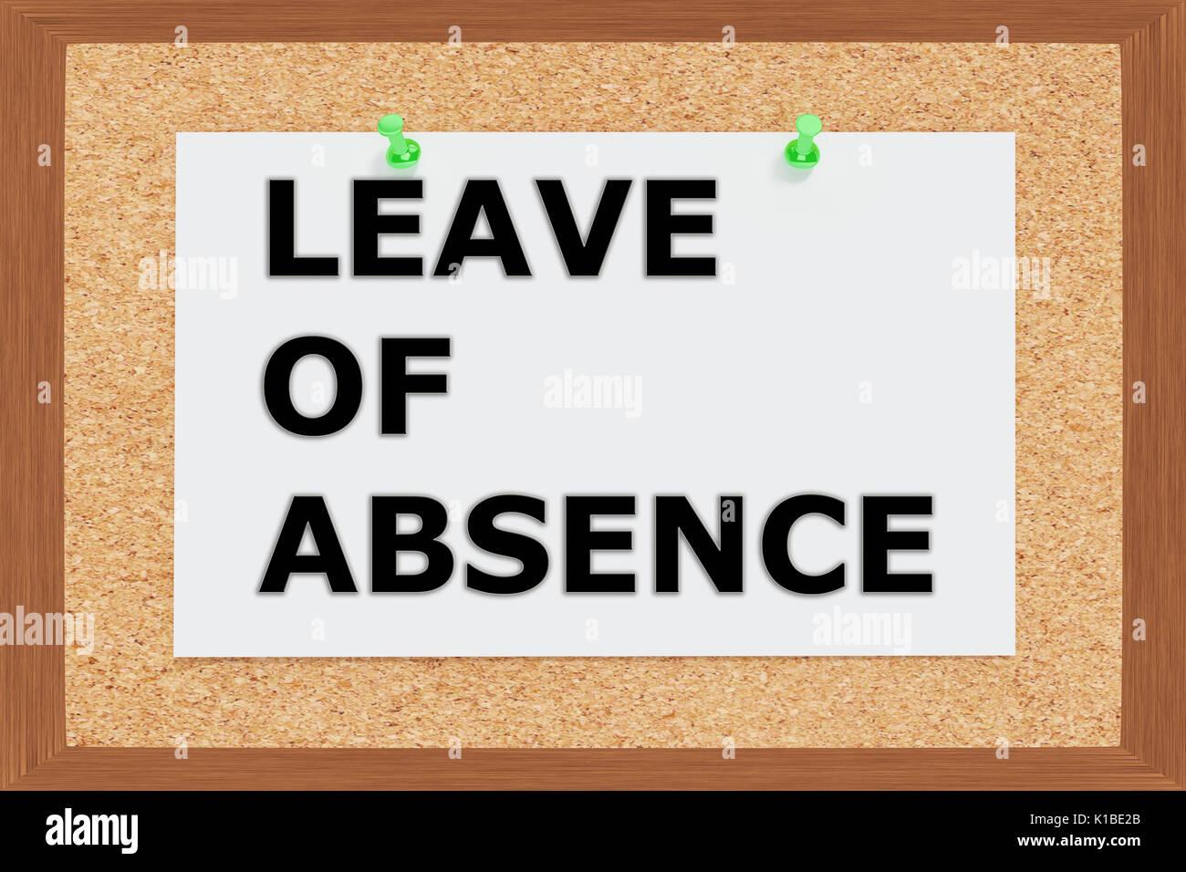 Render illustration of Leave of Absence title on cork board - Stock Image