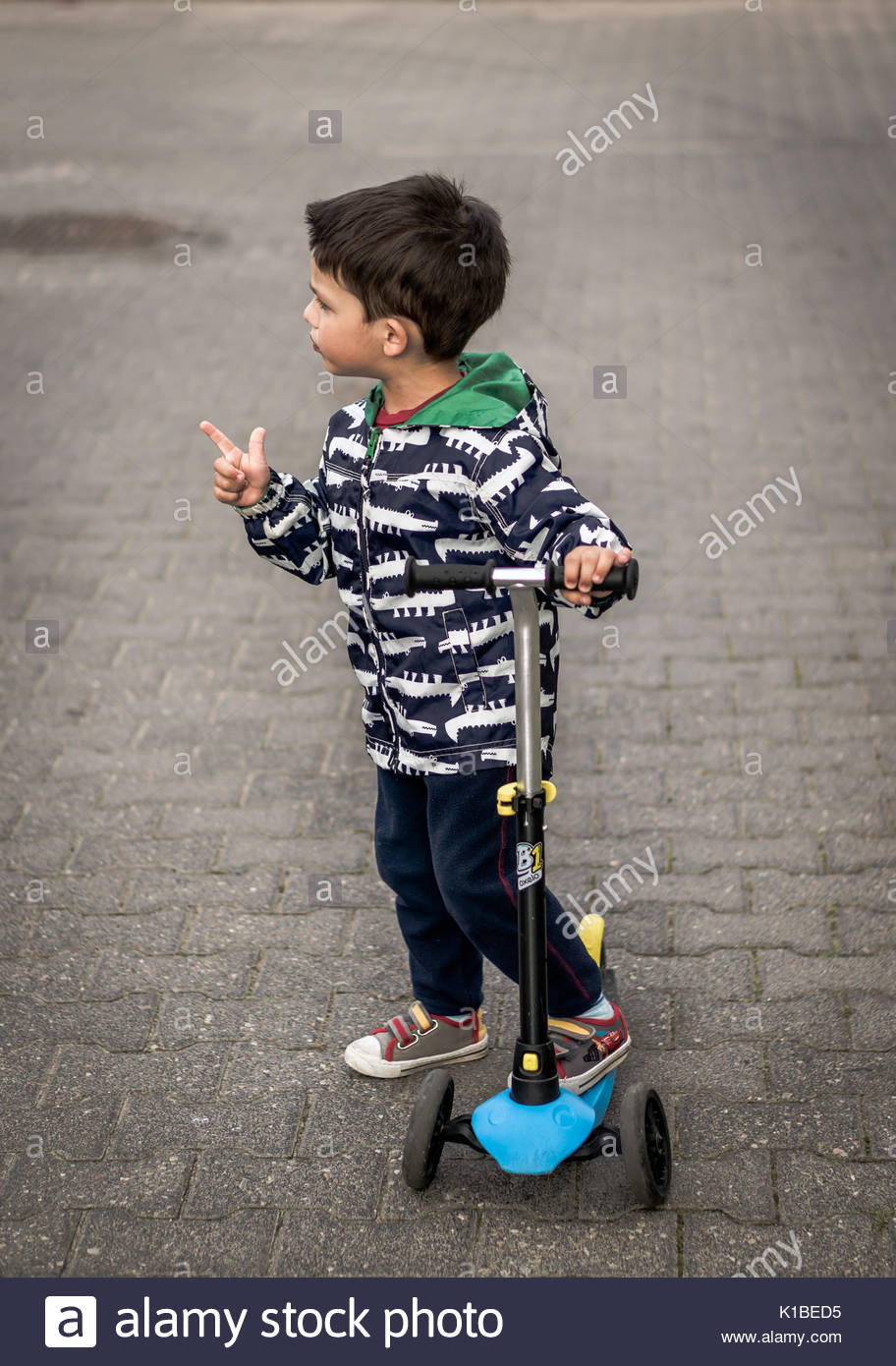 Toddler Boy Standing On A Child Scooter And Pointing On Something On