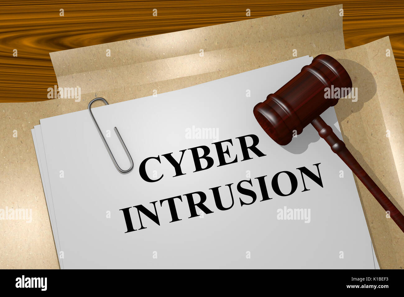 Render illustration of Cyber Intrusion Title On Legal Documents - Stock Image