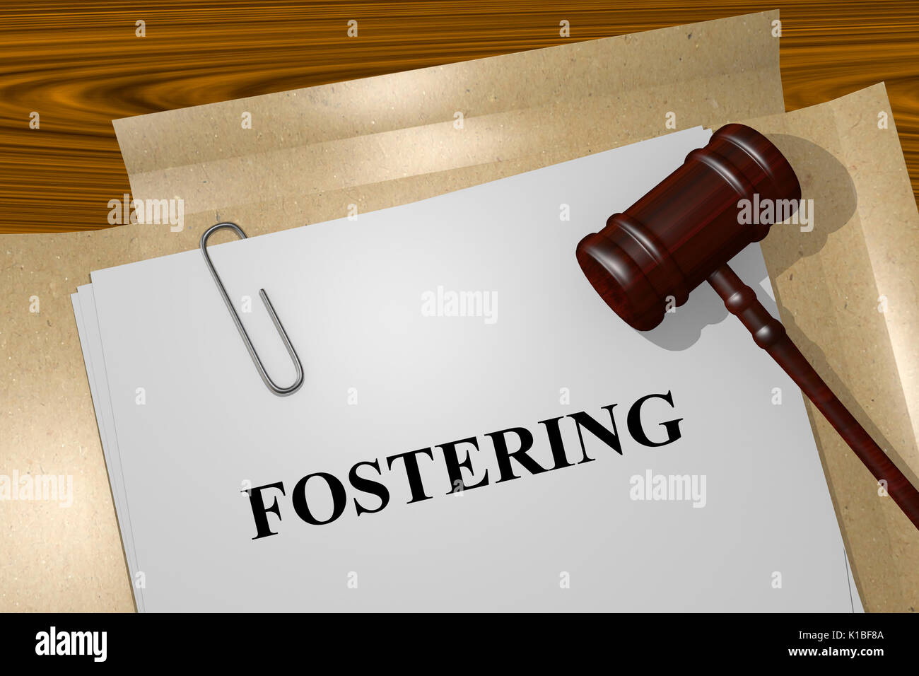 Render illustration of Fostering Title On Legal Documents - Stock Image