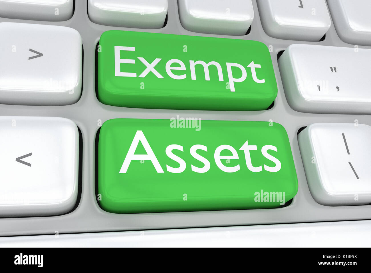 Render illustration of computer keyboard with the print of Exempt Assets on two adjacent green buttons - Stock Image