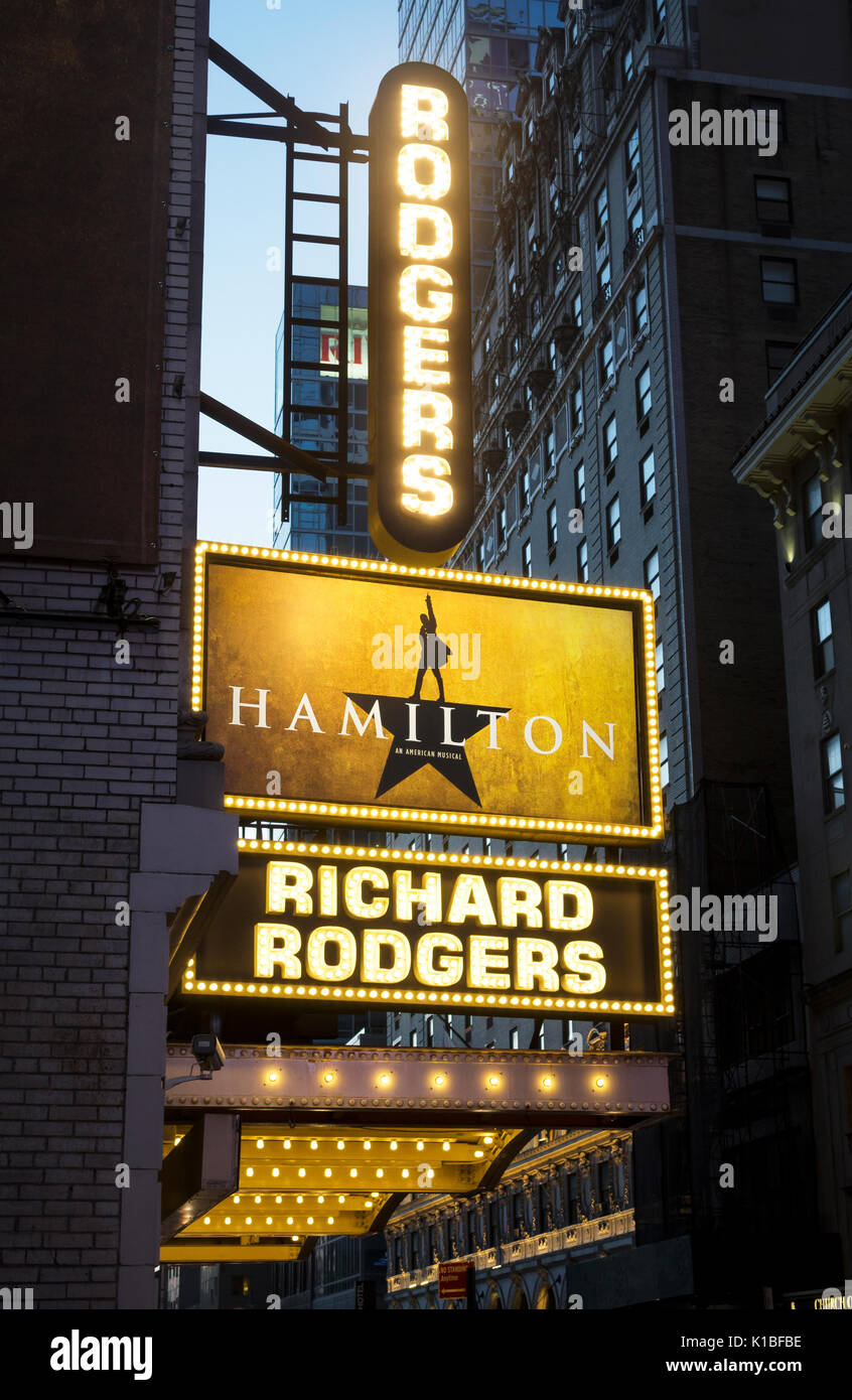 Hamilton The Musical At The Richard Rodgers Theatre In New
