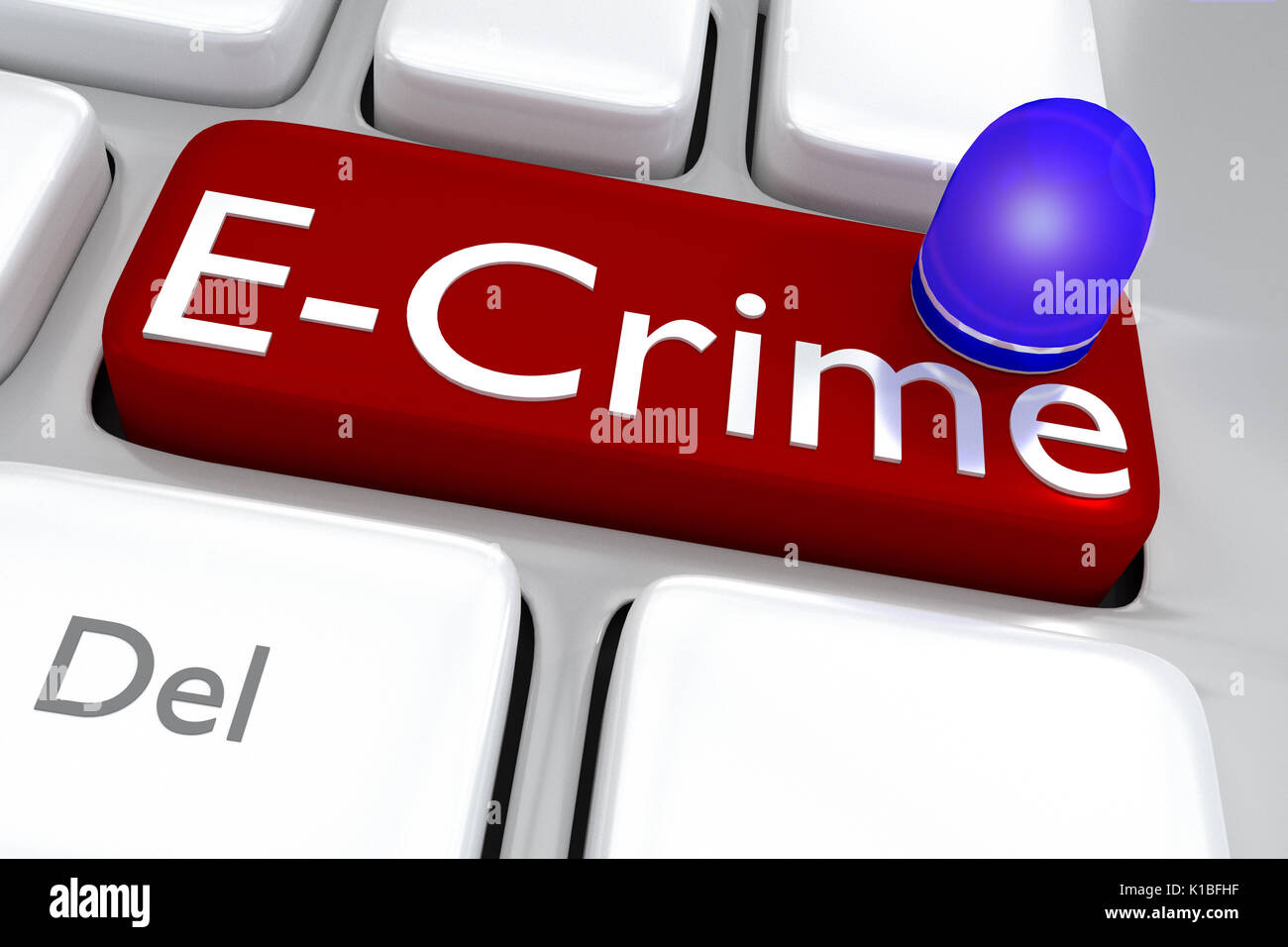 Render illustration of computer keyboard with the print E-Crime on a red button with a police car roof lamp - Stock Image