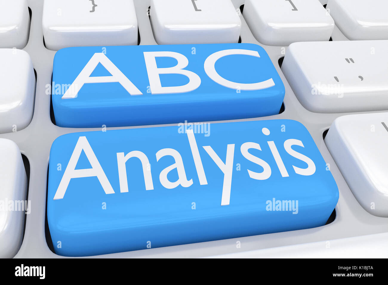 3D illustration of computer keyboard with the script 'ABC Analysis' on two adjacent pale blue buttons - Stock Image