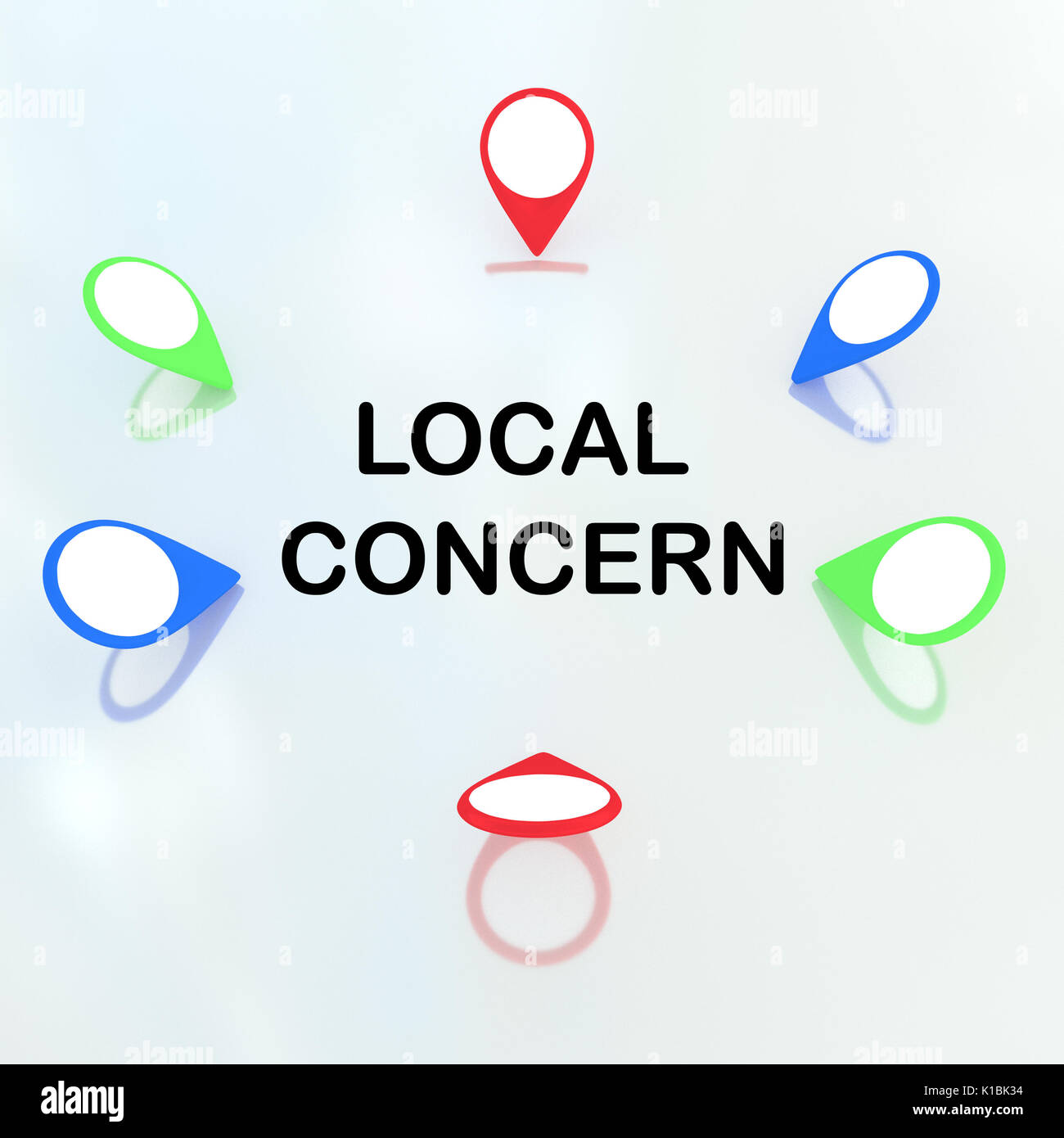 3D illustration of 'Local Concern' title surrounded by location markers. Locality concept. - Stock Image
