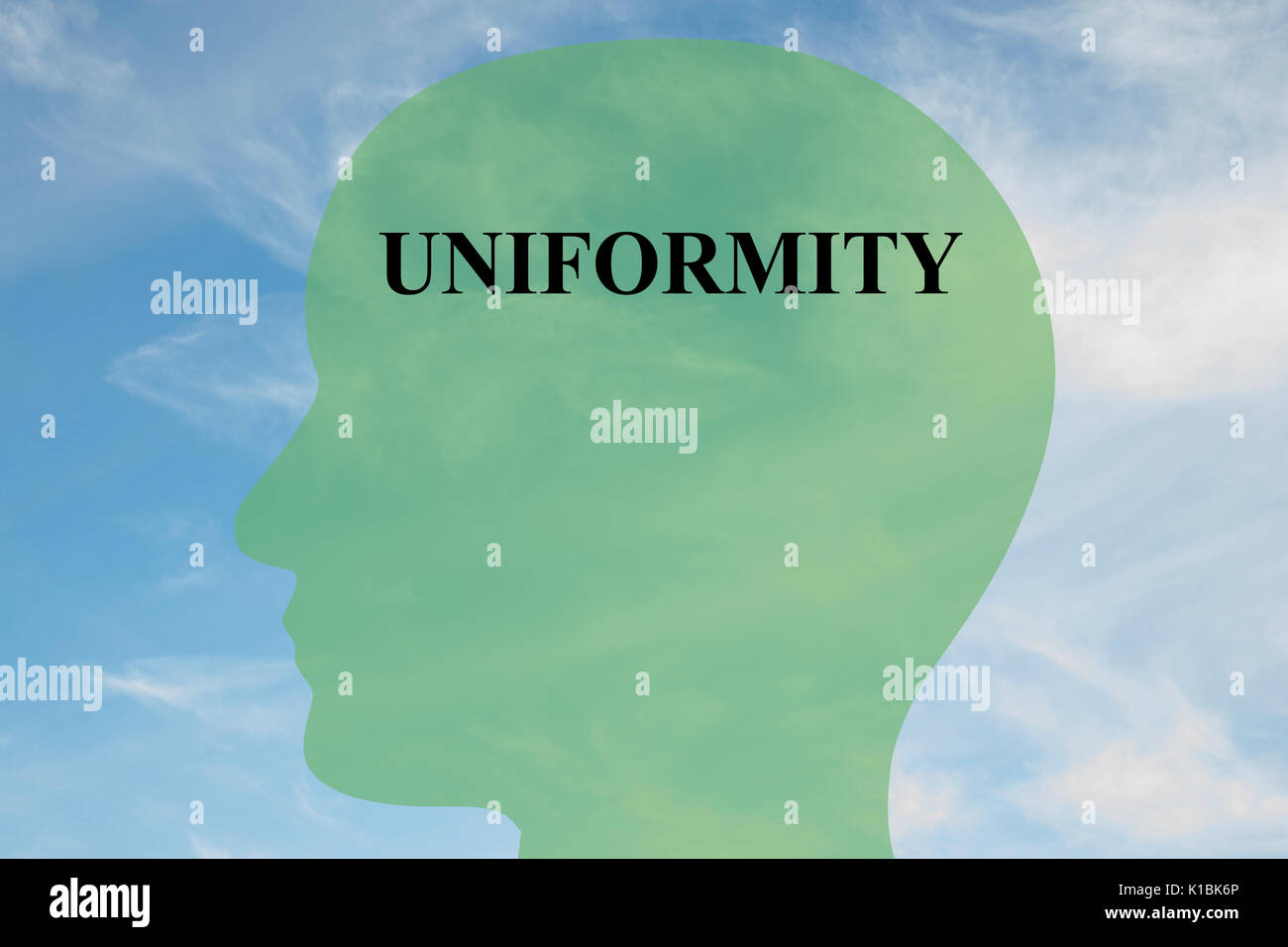 Render illustration of UNIFORMITY title on head silhouette, with cloudy sky as a background. Human mentality concept. - Stock Image