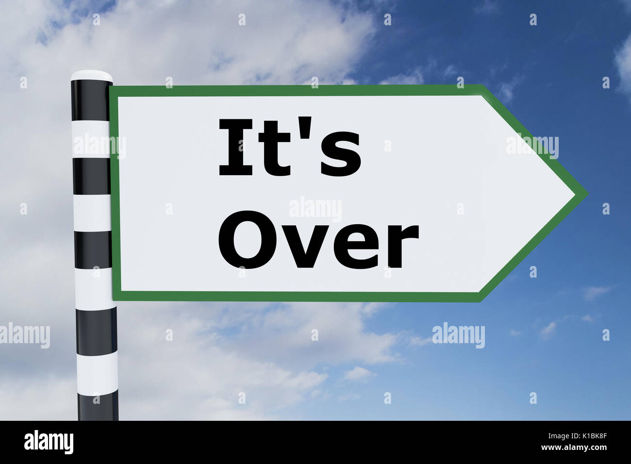 Render illustration of It's Over title on road sign - Stock Image