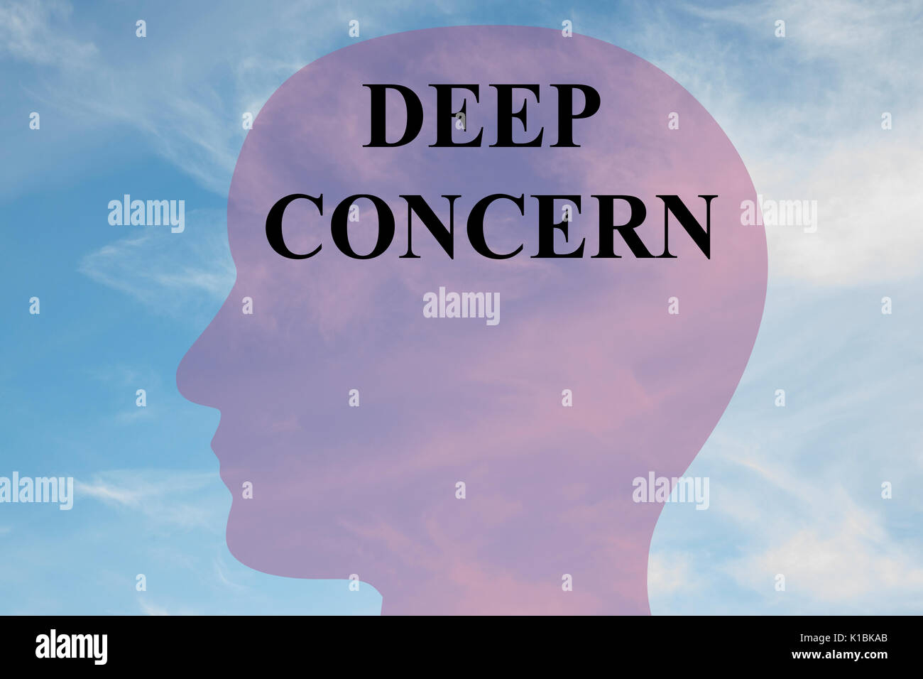 Render illustration of Deep Concern title on head silhouette, with cloudy sky as a background. - Stock Image