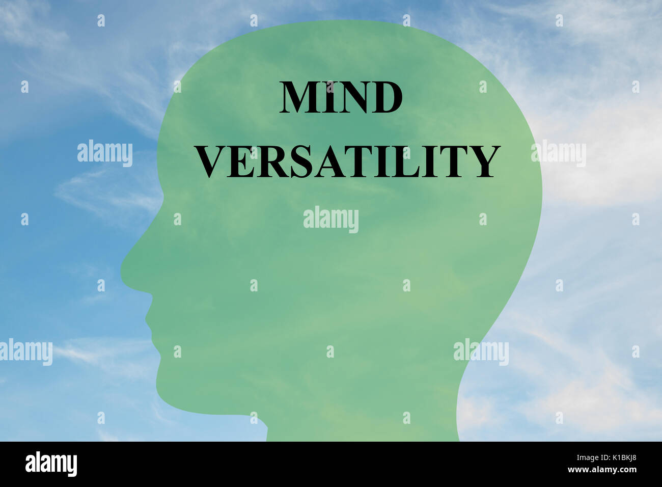 Render illustration of Mind Versatility title on head silhouette, with cloudy sky as a background - Stock Image