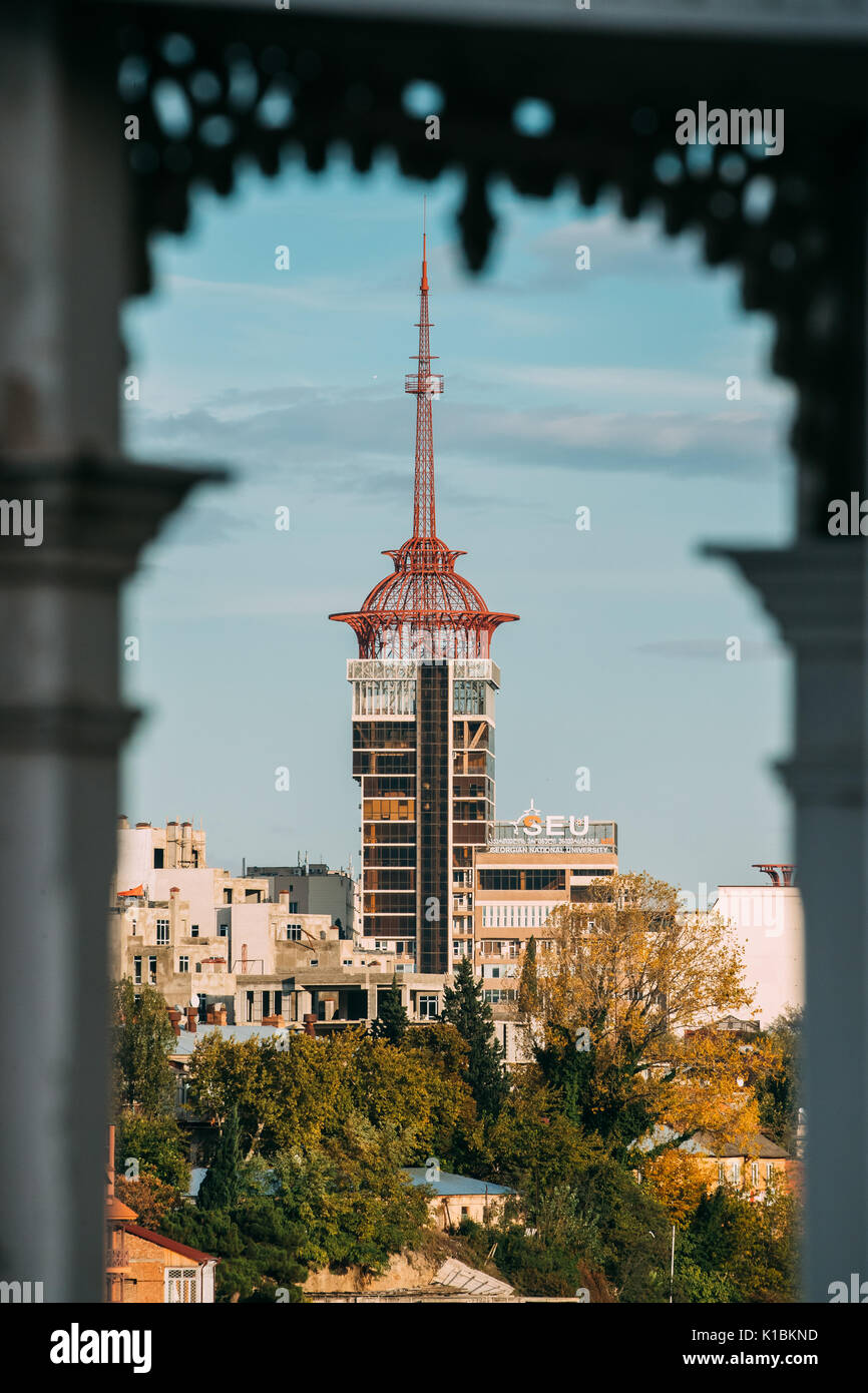 Tbilisi, Georgia - October 29, 2016: Cityscape View Through Frame Of National Teaching University SEU Is A Higher Education Institution. - Stock Image