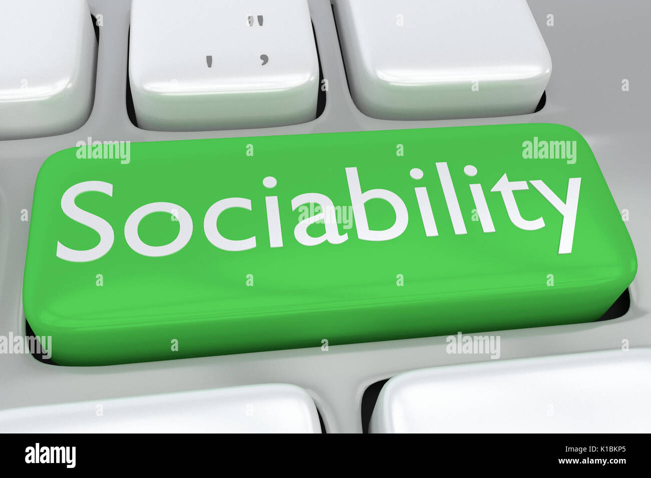 Render illustration of computer keyboard with the print Sociability on a green button - Stock Image