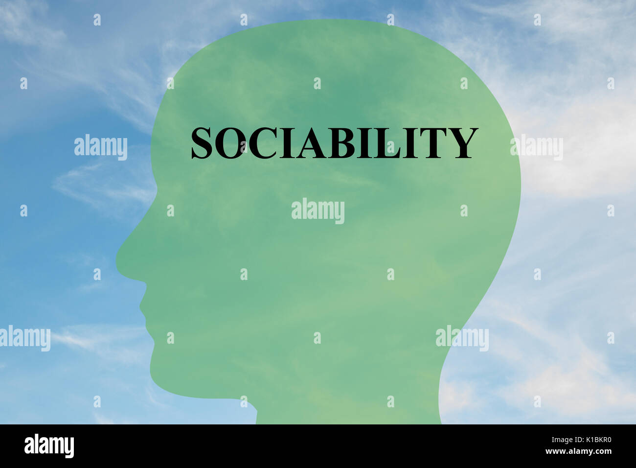 Render illustration of Sociability title on head silhouette, with cloudy sky as a background - Stock Image
