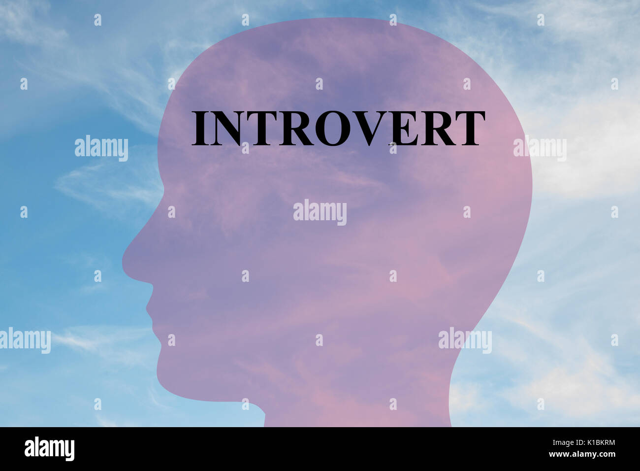Render illustration of Introvert title on head silhouette, with cloudy sky as a background. - Stock Image