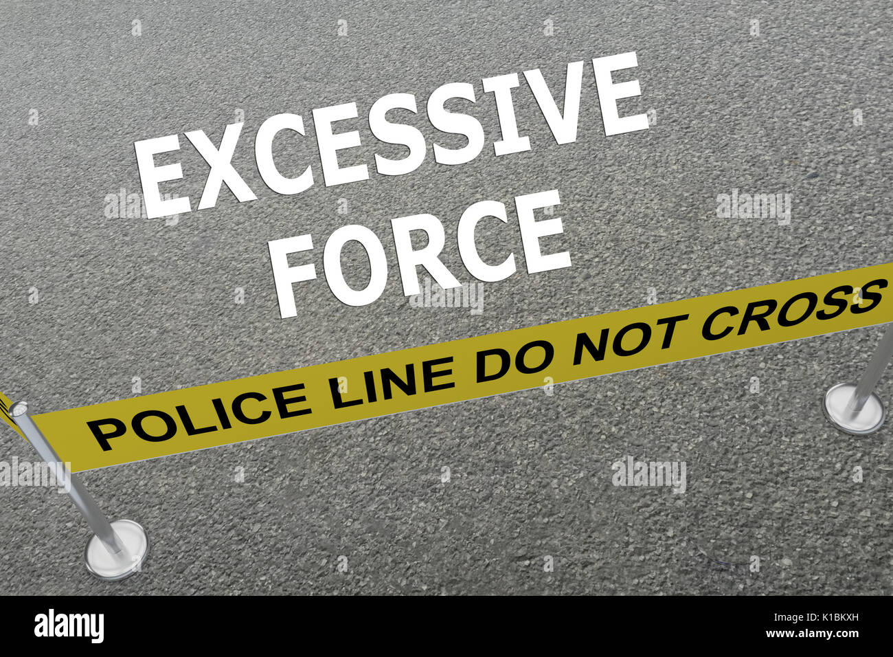 Render illustration of Excessive Force title on the ground in a police arena - Stock Image