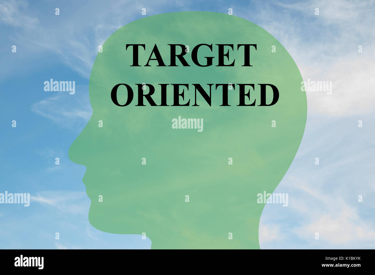 Render illustration of Target Oriented title on head silhouette, with cloudy sky as a background - Stock Image