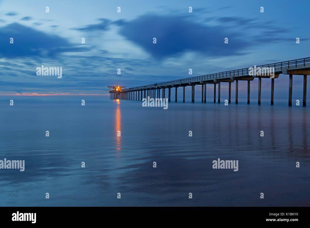 Scripps Pier at sunset, La Jolla, California - Stock Image