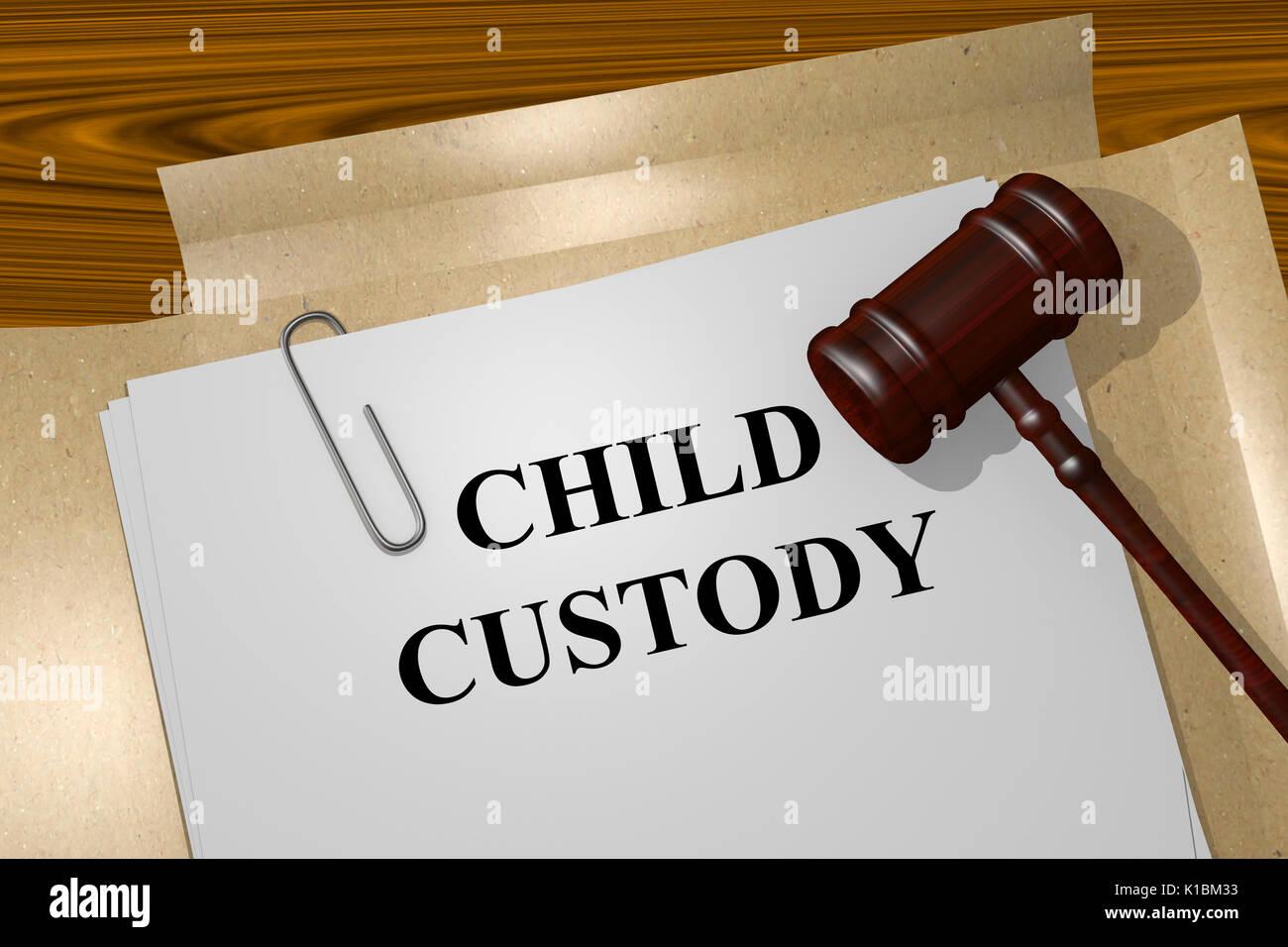 Render illustration of Child Custody title on Legal Documents - Stock Image