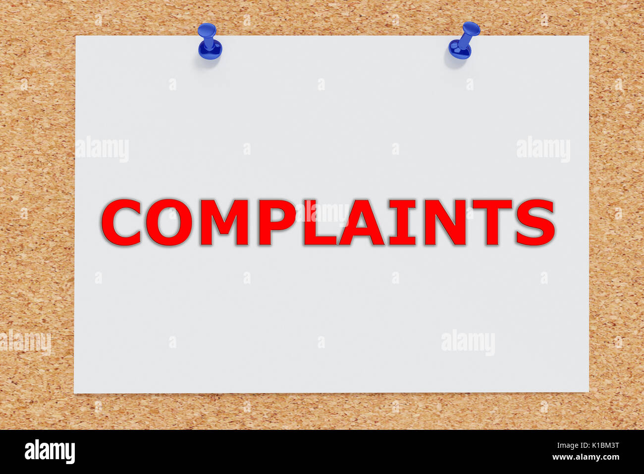 Render illustration of Complaints script on cork board - Stock Image