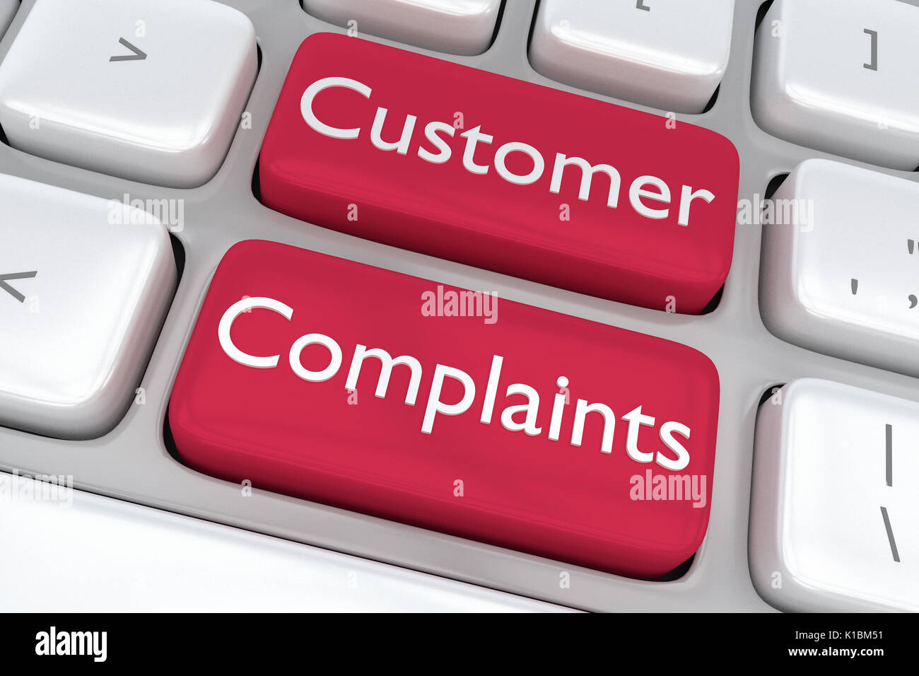 Render illustration of computer keyboard with the print Customer Complaints on two adjacent red buttons - Stock Image