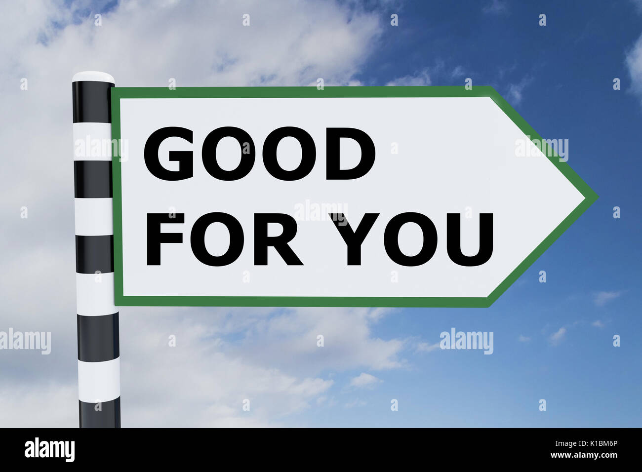 Render illustration of Good for You title on road sign - Stock Image