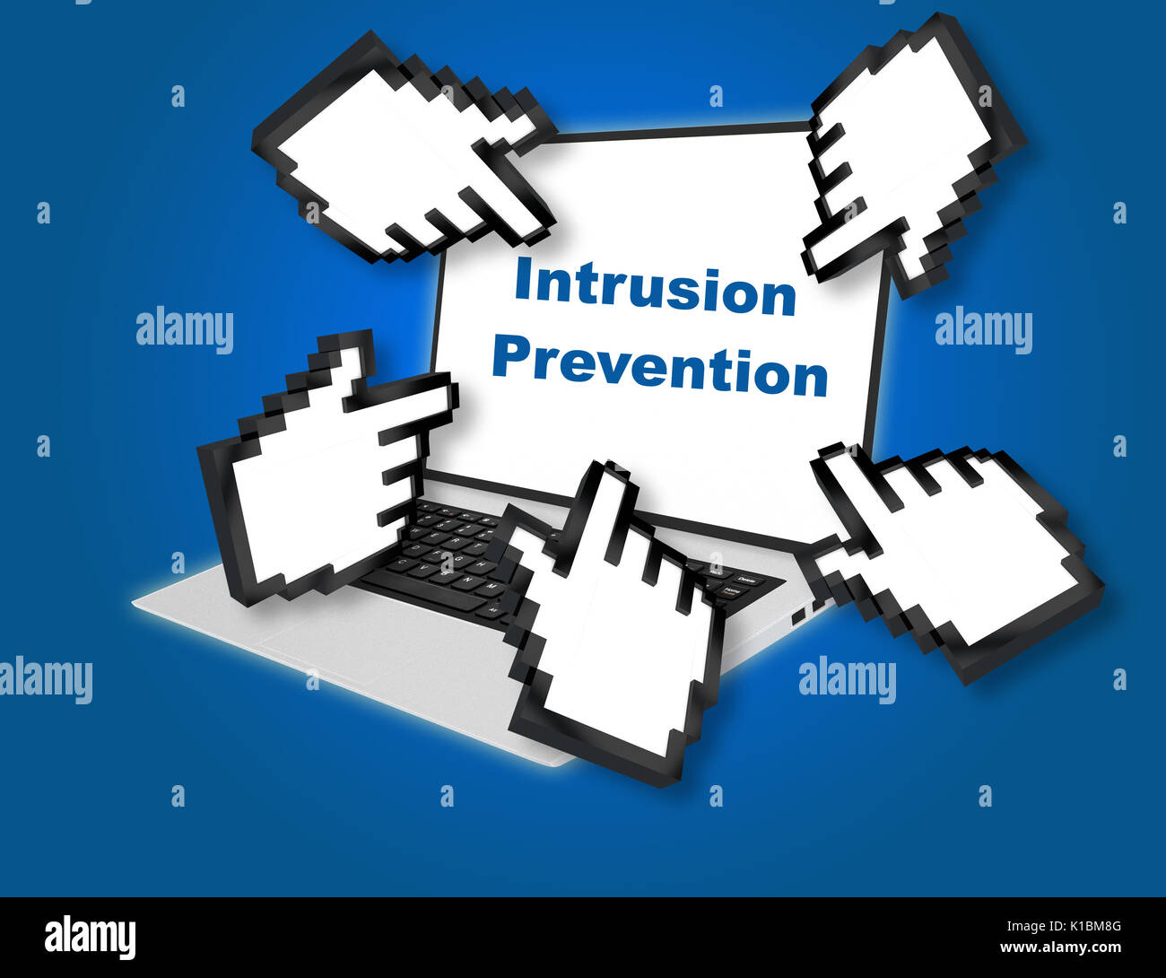 Render illustration of Intrusion Prevention concept with pointing hand icons pointing at the laptop screen from all sides. - Stock Image