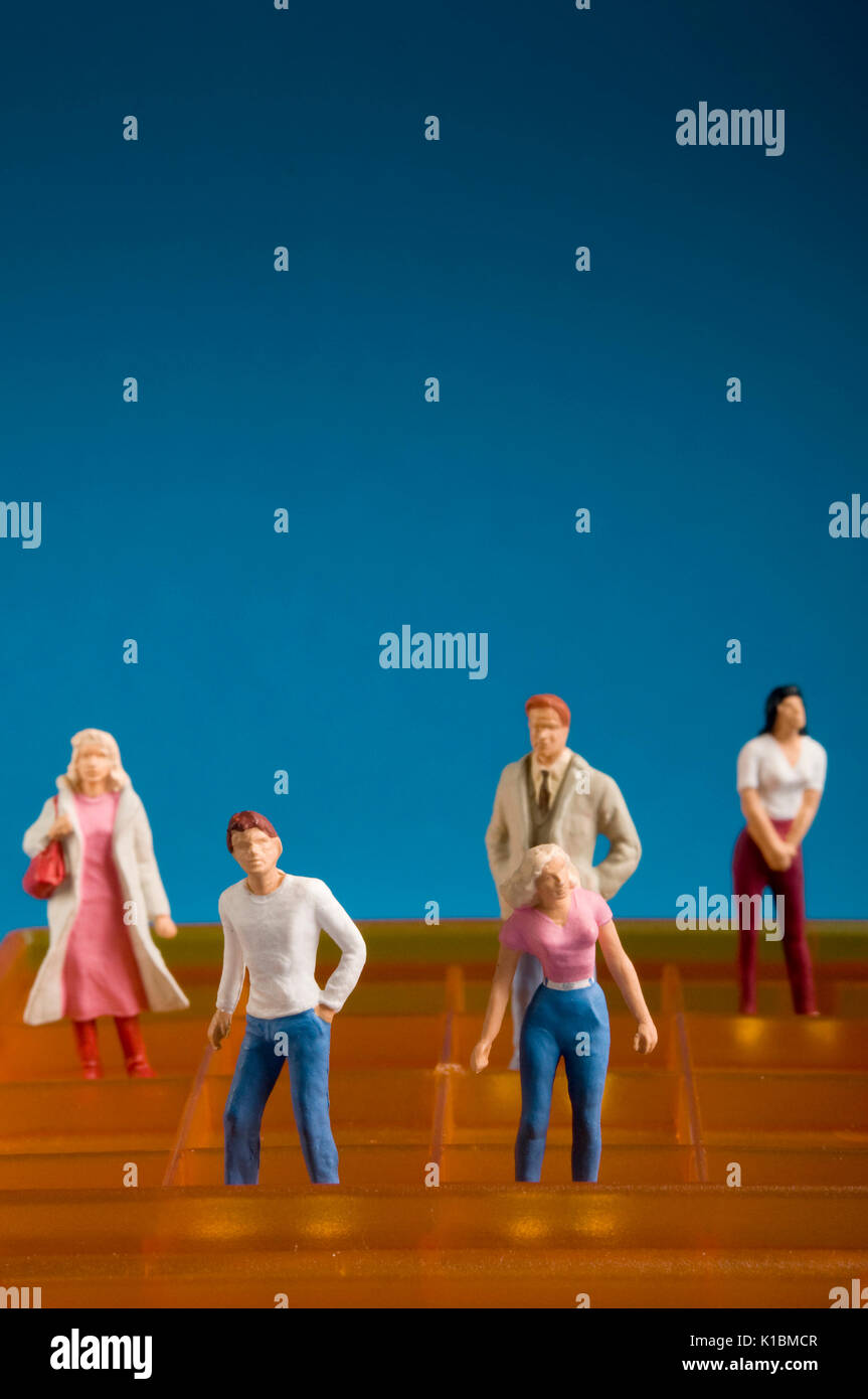 people miniature figurines, social networking concept - Stock Image