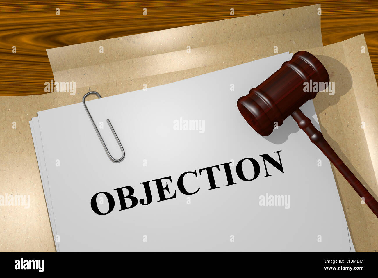 Render illustration of Objection title On Legal Documents - Stock Image