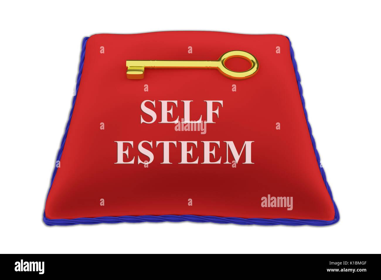 Render illustration of Self Esteem Title on red velvet pillow near a golden key, isolated on white. - Stock Image