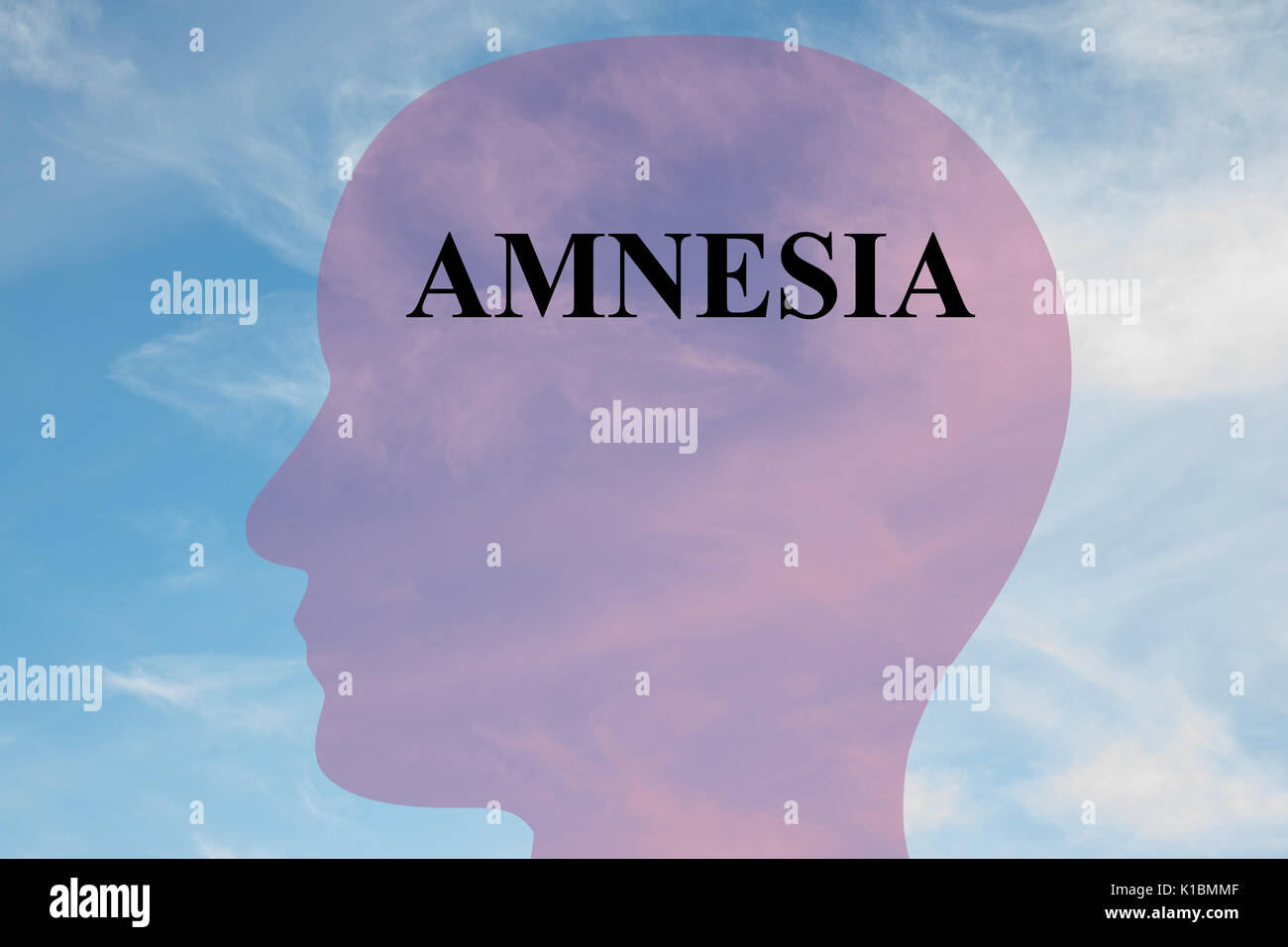 Render illustration of Amnesia title on head silhouette, with cloudy sky as a background. - Stock Image