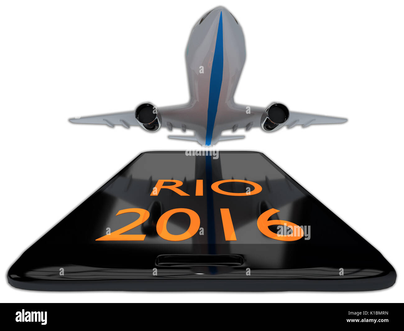 Render illustration of Rio 2016 title on cellular phone, isolated on white. - Stock Image