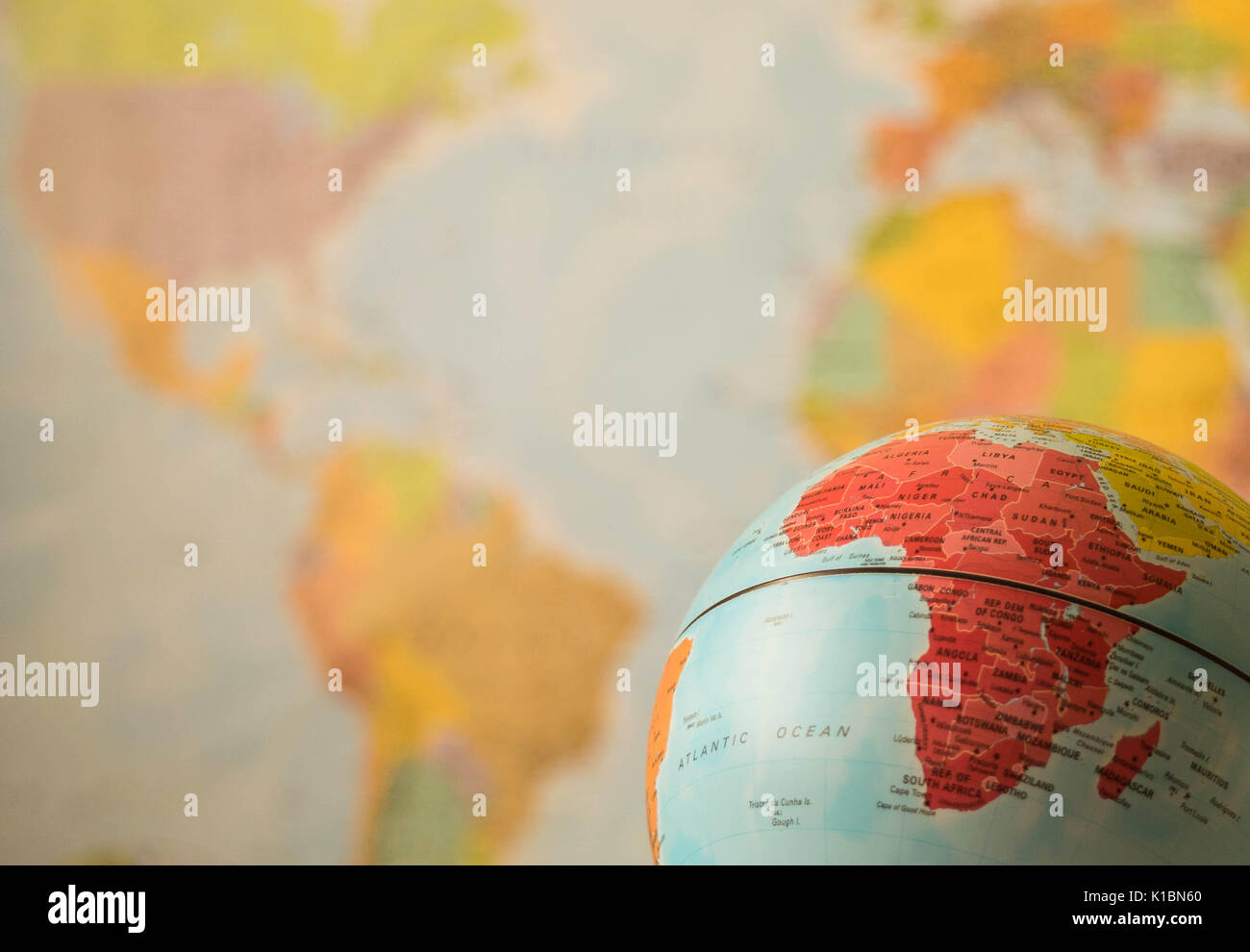 Africa Map Background.Africa Map On A Globe With The Whole World As Background Stock Photo