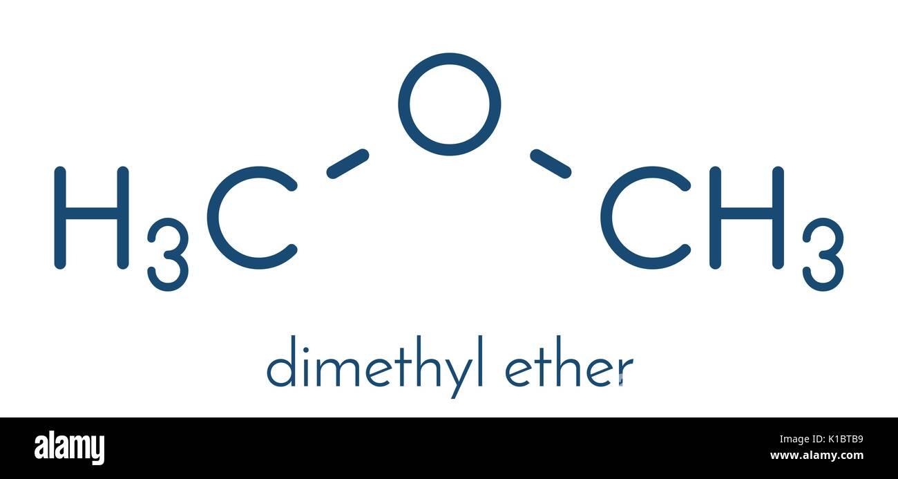 Dimethyl ether (methoxymethane, DME) molecule. Skeletal formula. - Stock Image