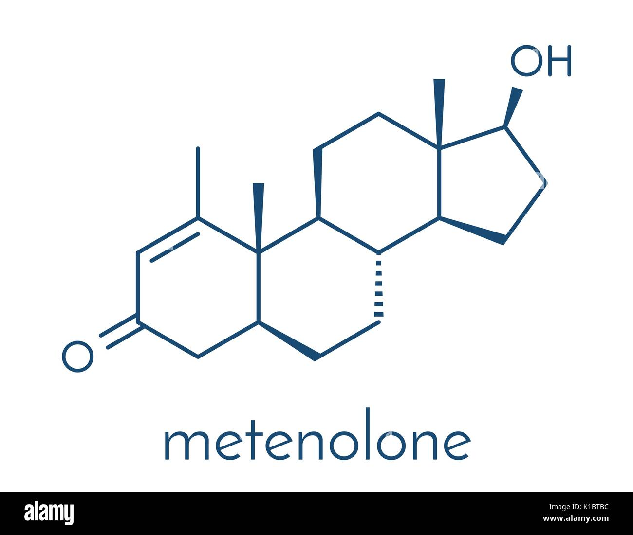 Metenolone anabolic steroid molecule. Used (banned) in sports doping. Skeletal formula. Stock Vector