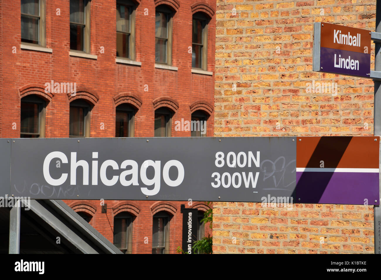 The sign on the Chicago stop L Train platform on the cities near north side. - Stock Image