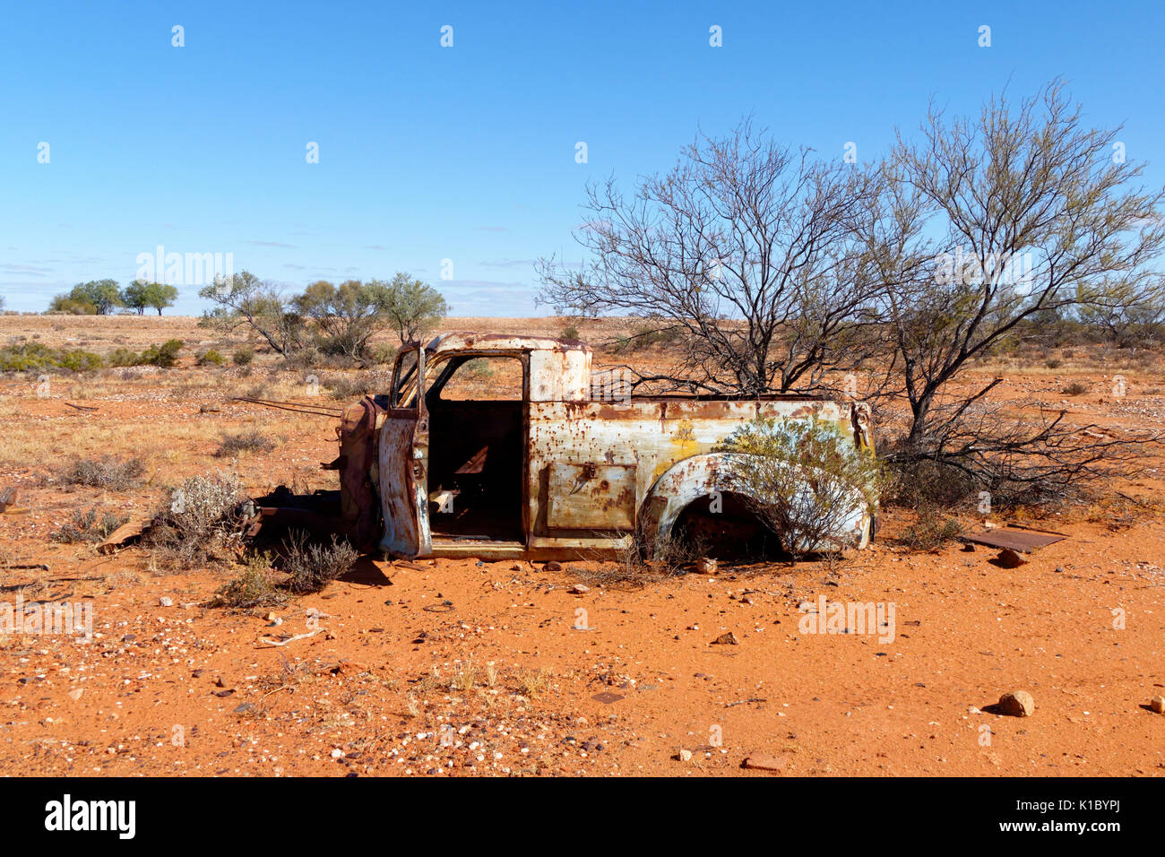 Old car from the former Nannine gold mining town, Meekathara, Murchison, Western Australia - Stock Image
