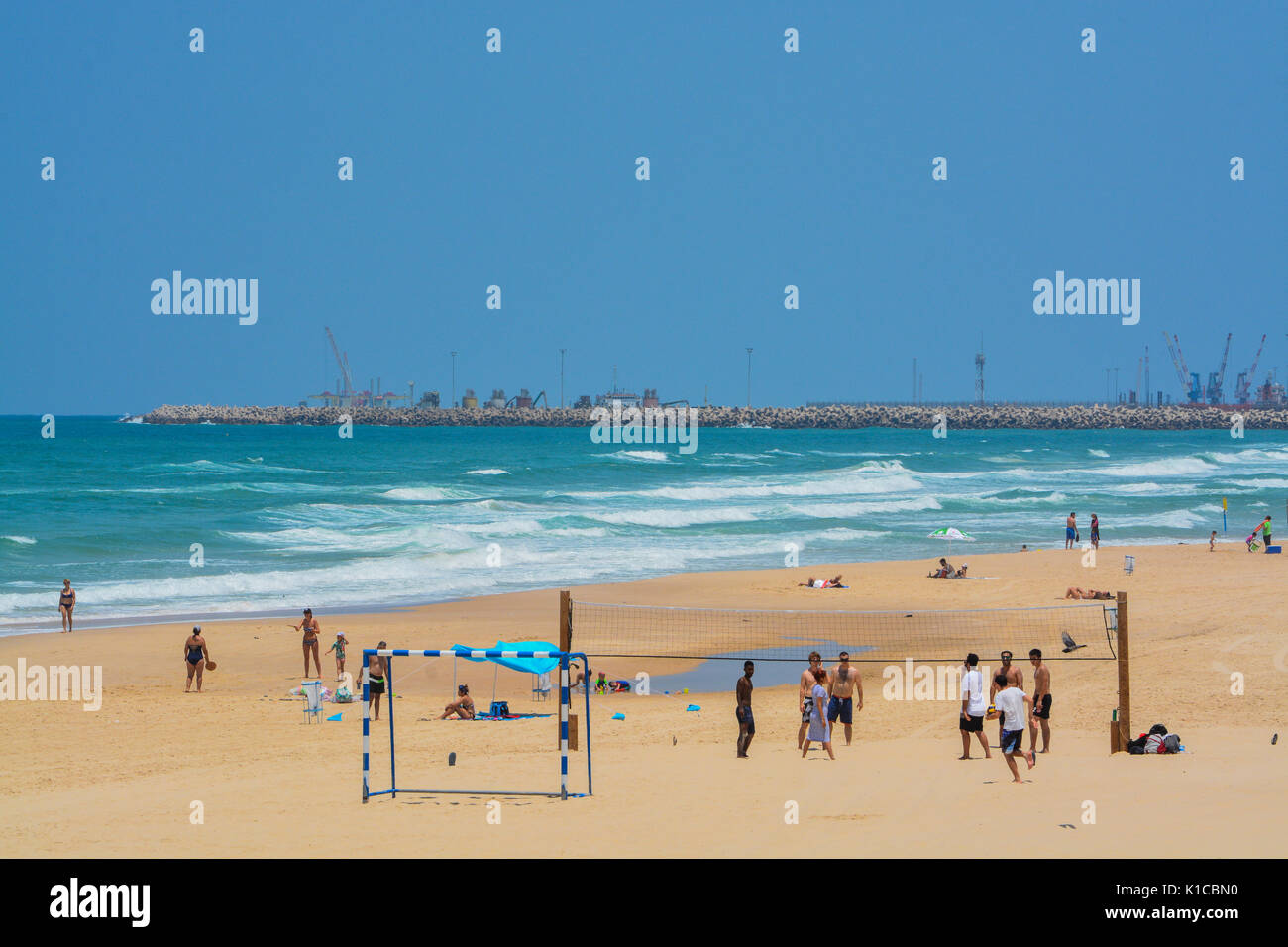 The Mediterranean beach of Ashkelon in Ashkelon, Israel