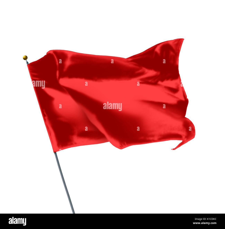 Red Mockup Flag Isolated on White Background - Stock Image