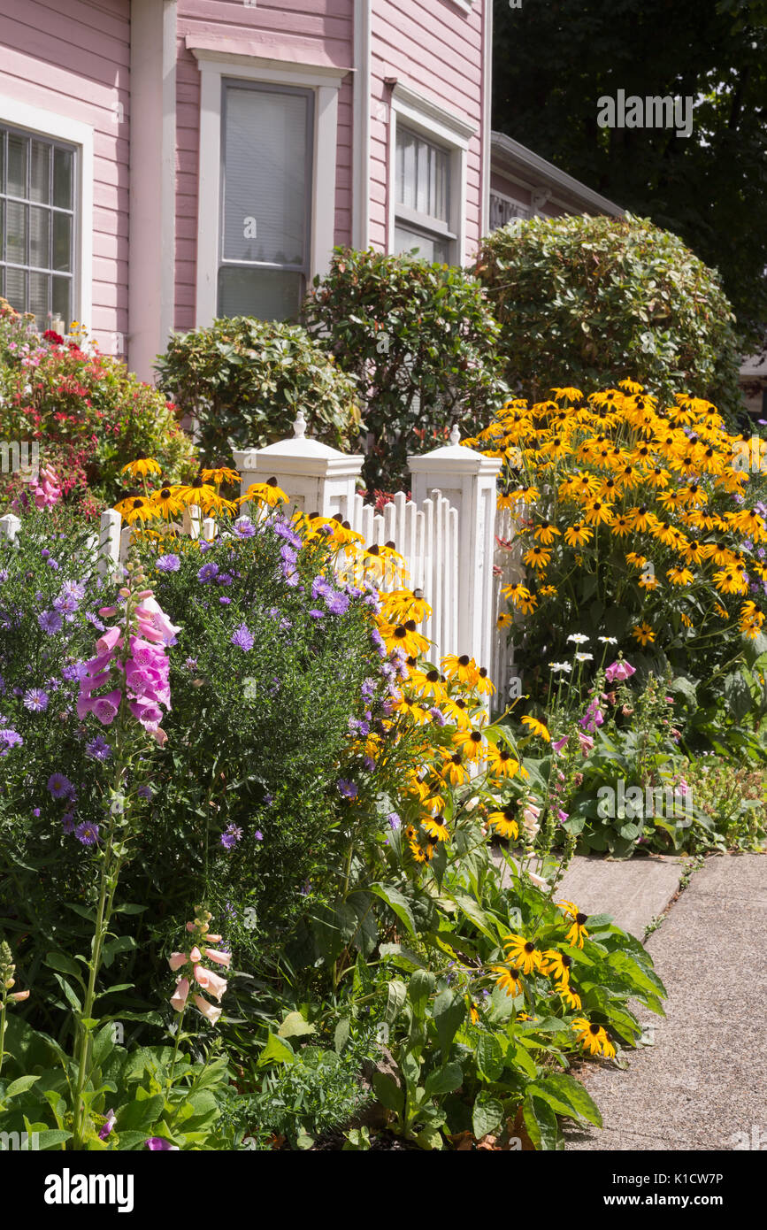 Bright summer flowers almost hide an old fashioned gate to a pink Victorian home. - Stock Image