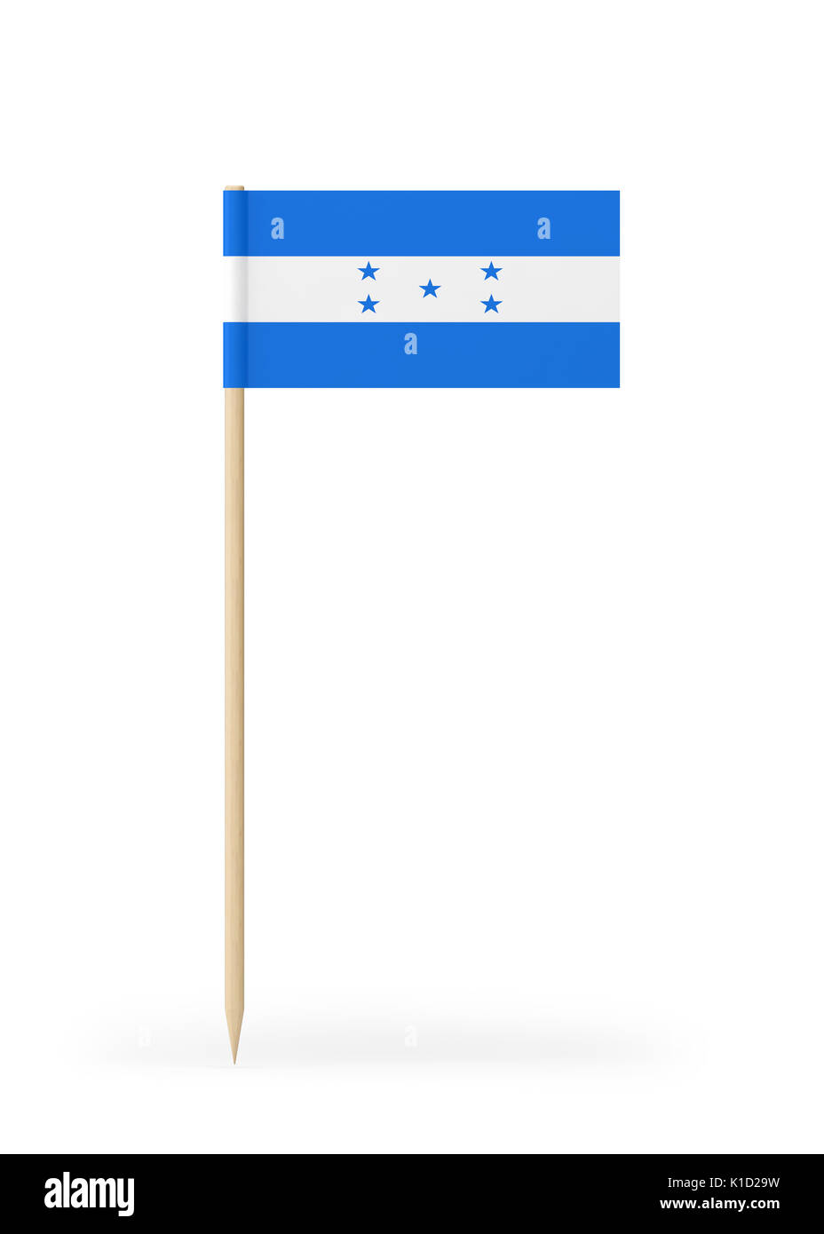 Small Honduras flag  on a toothpick. The flag has nicely detailed paper texture. High quality 3d render. Isolated Stock Photo