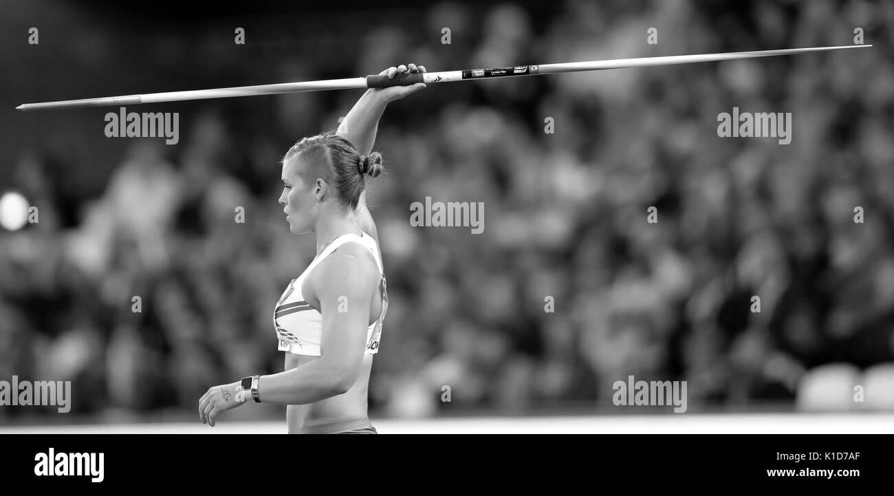 London, UK. 08-Aug-17.  Ásdís HJÁLMSDÓTTIR representing Iceland competing in the Women's Javelin Final at the 2017, IAAF World Championships, Queen Elizabeth Olympic Park, Stratford, London, UK. Credit: Simon Balson/Alamy Live News - Stock Image