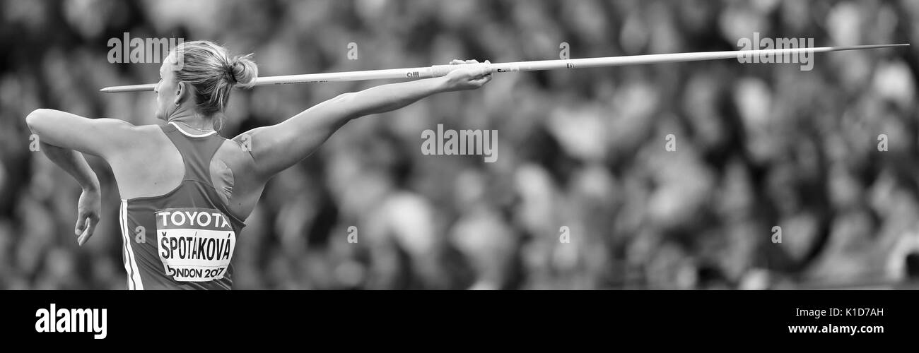 London, UK. 08-Aug-17.  Barbora ŠPOTÁKOVÁ representing Czech Republic competing in the Women's Javelin Final at the 2017, IAAF World Championships, Queen Elizabeth Olympic Park, Stratford, London, UK. Credit: Simon Balson/Alamy Live News - Stock Image