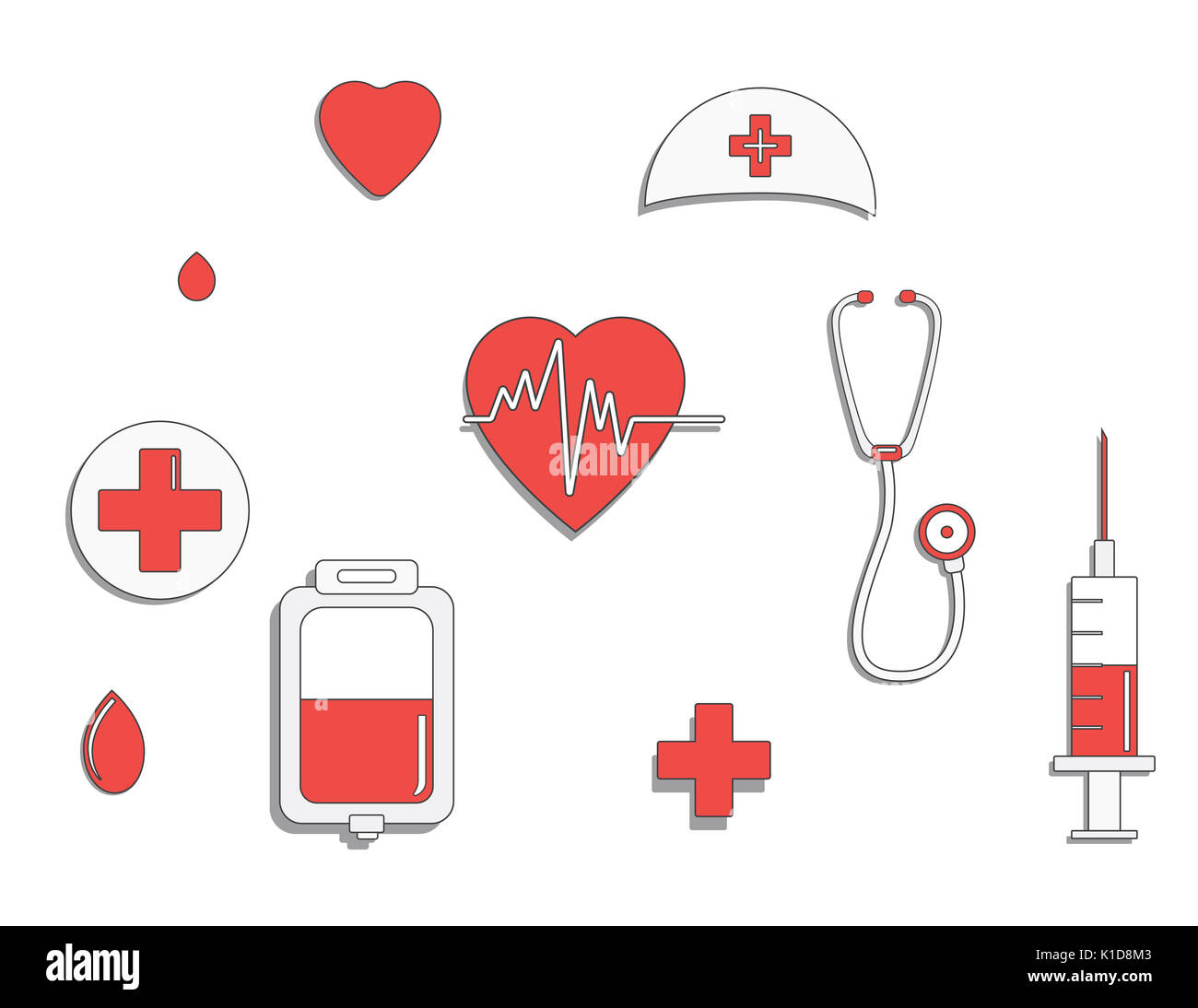 Medicine concept. donate blood and save life. Donation give love. ullustration sticker set. Pack of icons for design. World blood donor day. Internati - Stock Image